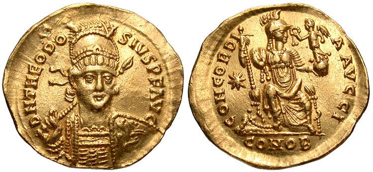 Un solidus de Theodose Honori13