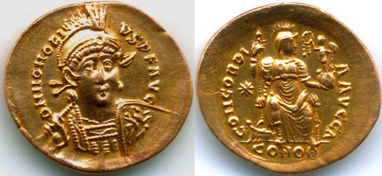 Un solidus de Theodose Honori15