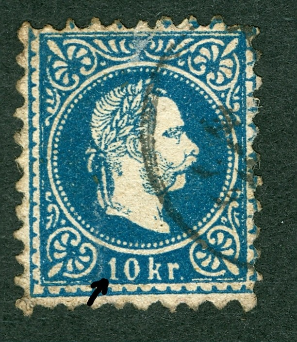 Nachtrag - Freimarken-Ausgabe 1867 : Kopfbildnis Kaiser Franz Joseph I 10_kr_15