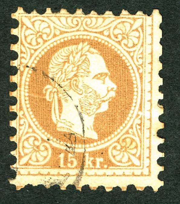 ungarn - Freimarken-Ausgabe 1867 : Kopfbildnis Kaiser Franz Joseph I 15_kr_13