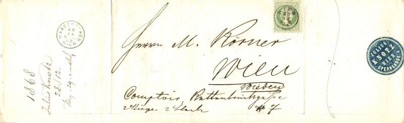 Nachtrag - Freimarken-Ausgabe 1867 : Kopfbildnis Kaiser Franz Joseph I 3_kr_o10