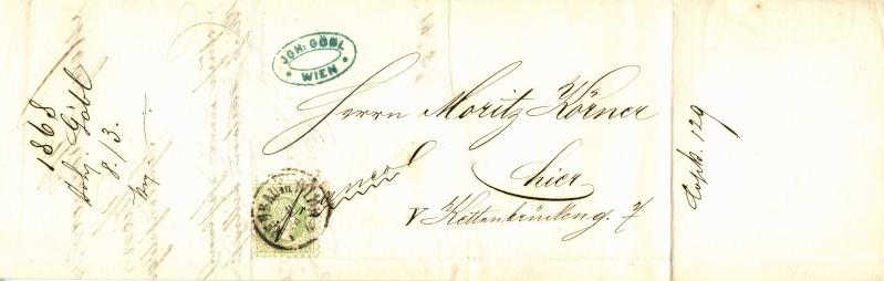 Nachtrag - Freimarken-Ausgabe 1867 : Kopfbildnis Kaiser Franz Joseph I 3_kr_o11