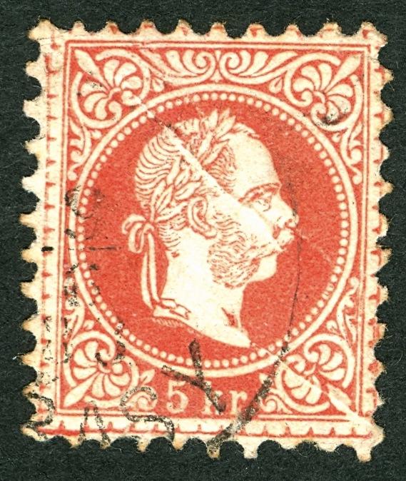 Nachtrag - Freimarken-Ausgabe 1867 : Kopfbildnis Kaiser Franz Joseph I 5_kr_p10