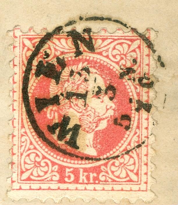 Nachtrag - Freimarken-Ausgabe 1867 : Kopfbildnis Kaiser Franz Joseph I 5_kr_p11