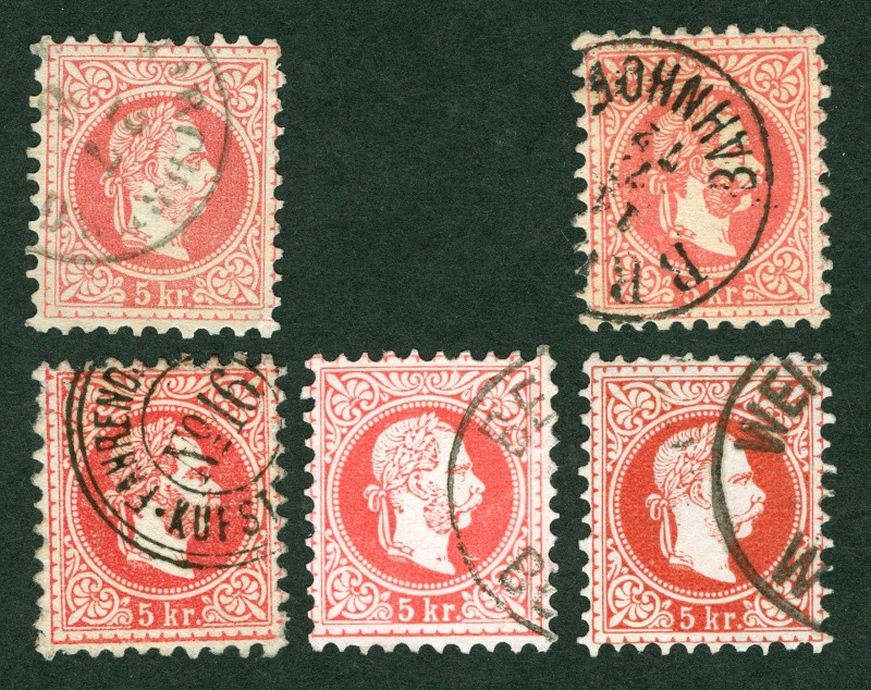 Nachtrag - Freimarken-Ausgabe 1867 : Kopfbildnis Kaiser Franz Joseph I 5_kr_t10