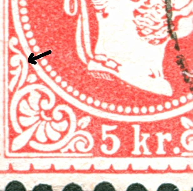 Nachtrag - Freimarken-Ausgabe 1867 : Kopfbildnis Kaiser Franz Joseph I 5_kr_t17