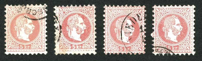 Nachtrag - Freimarken-Ausgabe 1867 : Kopfbildnis Kaiser Franz Joseph I 5_kr_z10