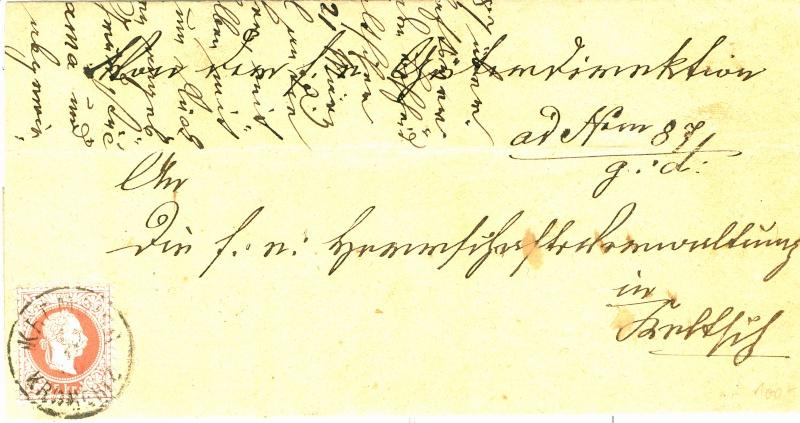 Nachtrag - Freimarken-Ausgabe 1867 : Kopfbildnis Kaiser Franz Joseph I 5kr_fe10