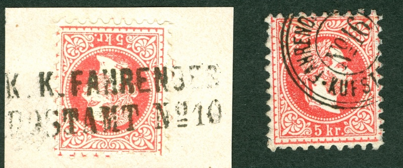 Nachtrag - Freimarken-Ausgabe 1867 : Kopfbildnis Kaiser Franz Joseph I Stempe12