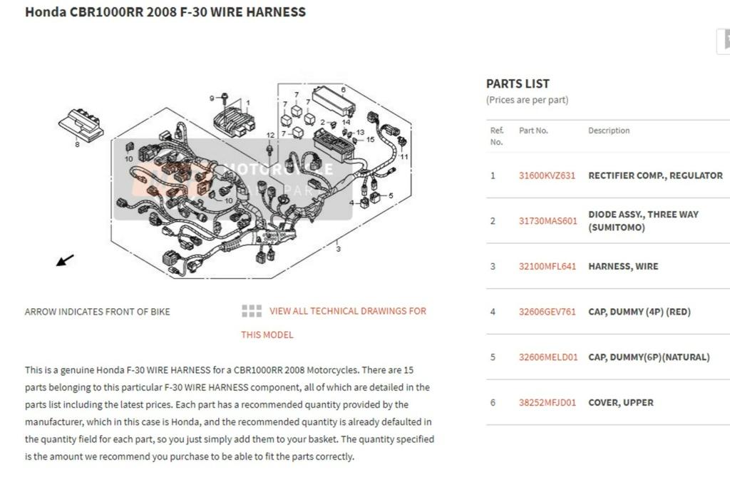 Remplacement faisceau Honda CBR SC59 Wire_h10