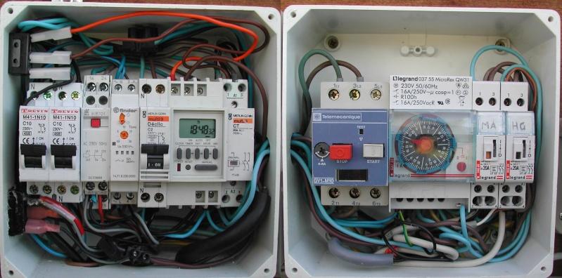 Branchement électrique PAC, electrolyseur et contrôleur PH 1-tabl10