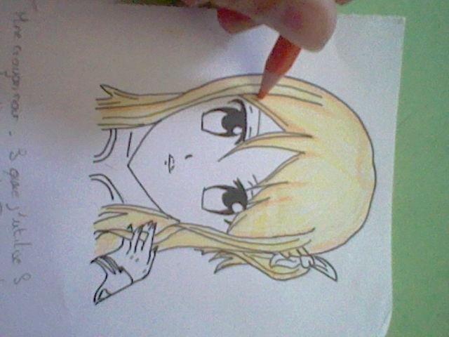~~ Tuto dessin et Colorisation aux crayons de couleur sur  Lucy Heartfilia ~~ Etape_10