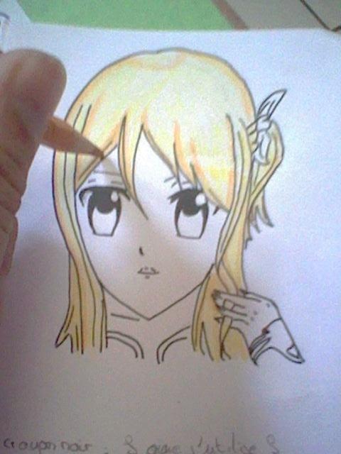 ~~ Tuto dessin et Colorisation aux crayons de couleur sur  Lucy Heartfilia ~~ Etape_11