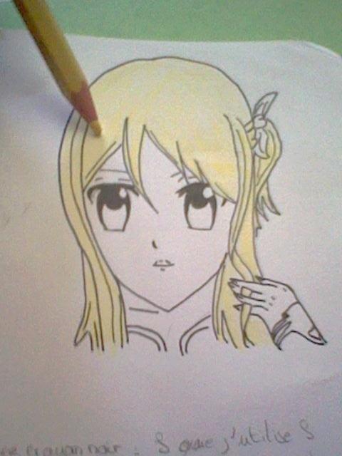 ~~ Tuto dessin et Colorisation aux crayons de couleur sur  Lucy Heartfilia ~~ Lucy_c10