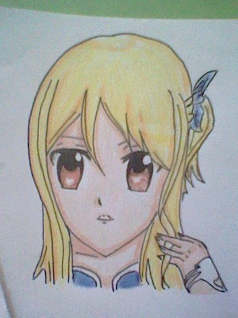 ~~ Tuto dessin et Colorisation aux crayons de couleur sur  Lucy Heartfilia ~~ Lucy_e11