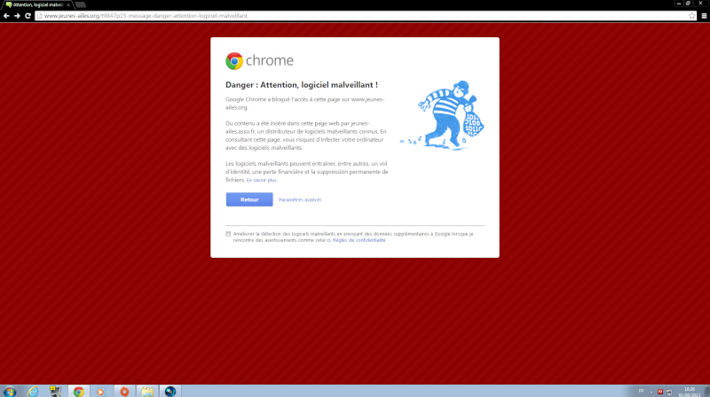 "Message : ""Danger : Attention, logiciel malveillant !"" Bloqua10"