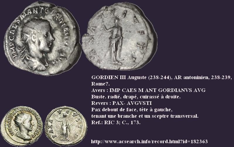"""Antoninien Gordien III """"PAX AVGVSTI"""" Reck_r10"""