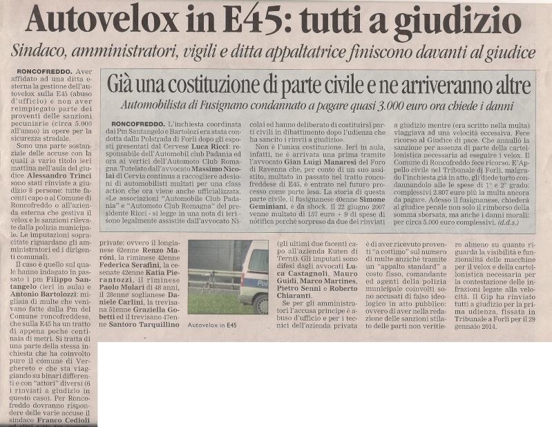 CLASS ACTION AUTOMOTO CLUB ROMAGNA - multe autovelox E45 Roncofreddo / Verghereto Corrie10