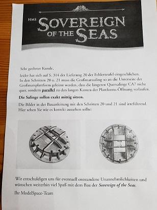 meninho's Sovereign of the Seas, Indienststellung 1638 20181109