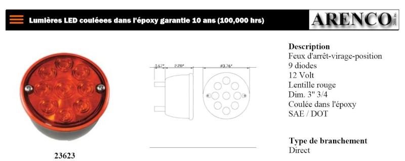 Conversion des feux arrière a des feux DEL Arenco10