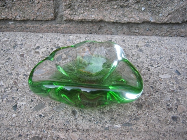 Small Green to Clear Glass Bowl. Heavy! Potter51
