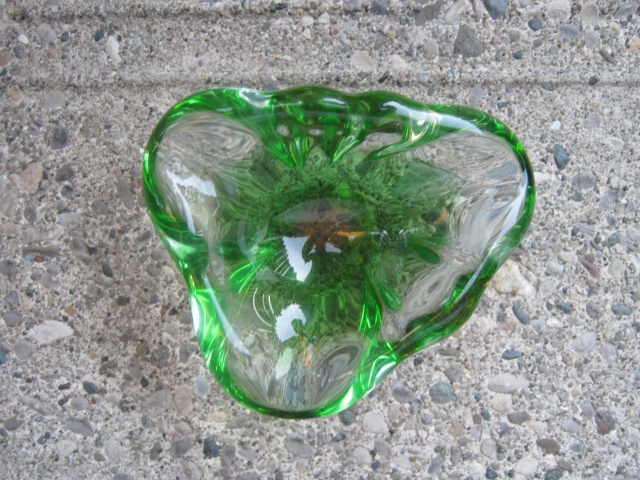Small Green to Clear Glass Bowl. Heavy! Potter52