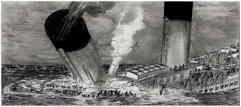 Serie de dessins sur le titanic ses sister ships page 2 - Dessin du titanic ...