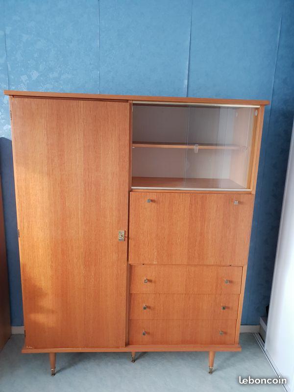Restauration armoire secrétaire années 60 Meuble10