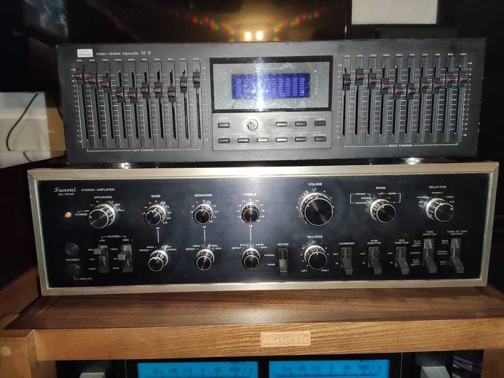 Sansui Au9500 Amp Rm 3000.  Sansui SE8 EQ. RM 650. Whatsa11