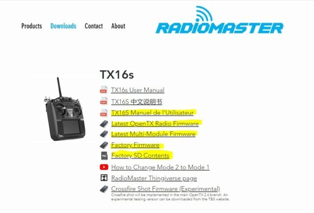 Documentation PDF en français de la RADIOMASTER TX16s Radiom10