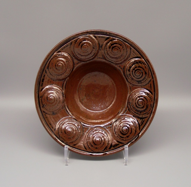 Tenmoku Glazed Bowl With Shell Impressions Incised AB or NB mark Dscf6516