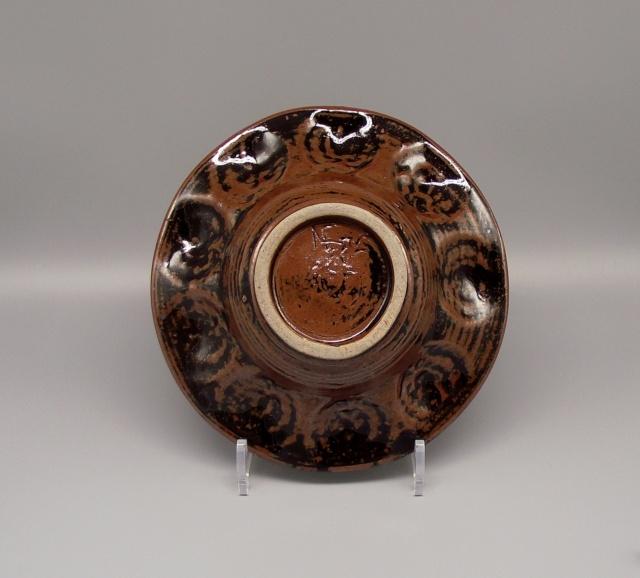 Tenmoku Glazed Bowl With Shell Impressions Incised AB or NB mark Dscf6517