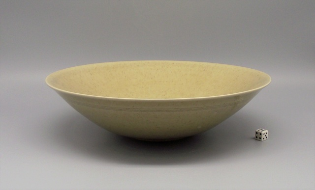 Finely Potted Earthenware Bowl with Celadon Glaze & Incised Signature Dscf9111