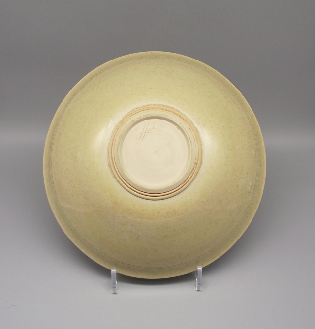 Finely Potted Earthenware Bowl with Celadon Glaze & Incised Signature Dscf9113