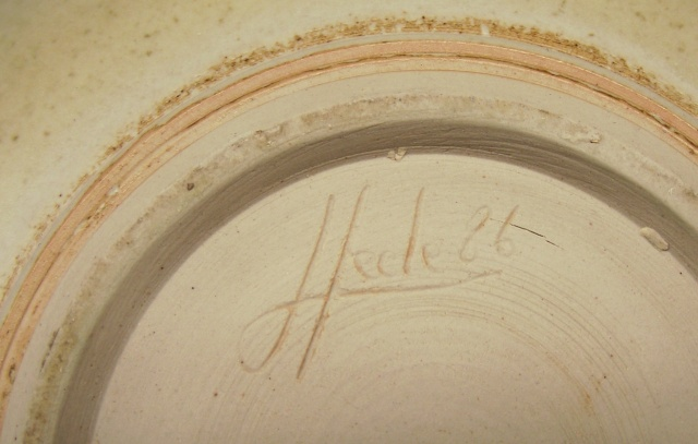 Finely Potted Earthenware Bowl with Celadon Glaze & Incised Signature Dscf9114