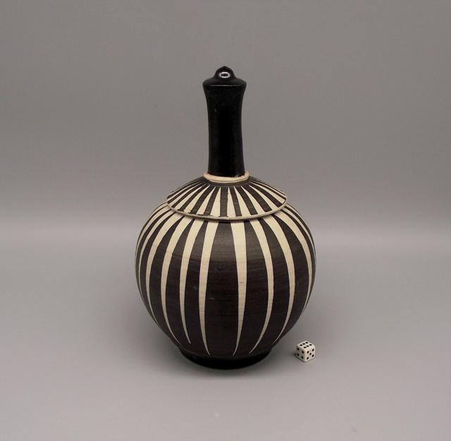 Lidded Jar with Geometric Striped Design No Marks Dscf9918
