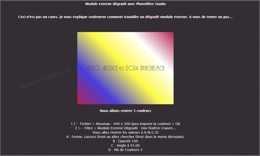 """Maîtriser le module externe dégradé """"Photofiltre Studio"""" 122"""