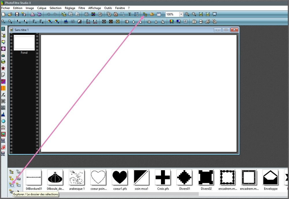 Visualiser les formes prédéfinies dans Photofiltre Studio Sans_106