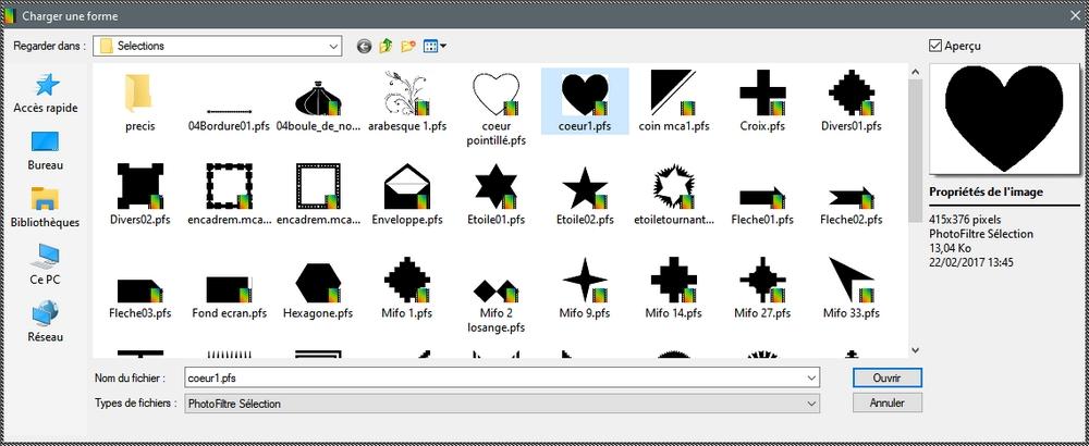 Visualiser les formes prédéfinies dans Photofiltre Studio Wsq10