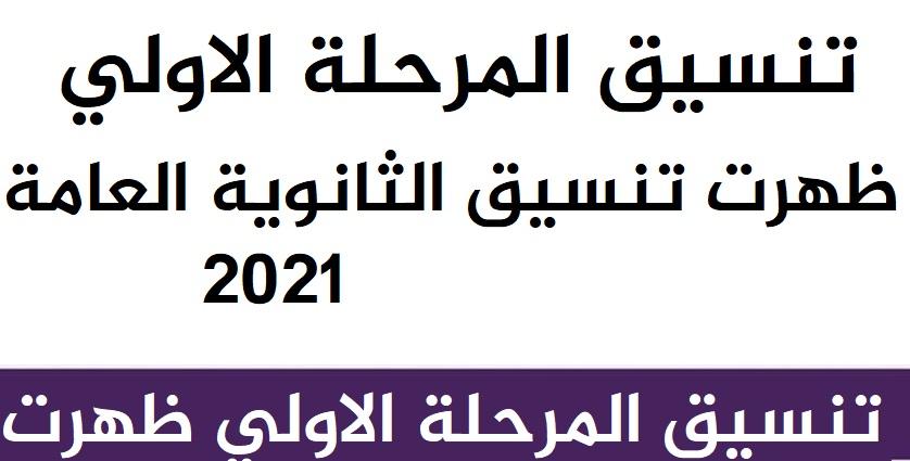 تنسيق المرحلة الاولي الثانوية العامة بالحد الادني 2021-2022 22111030