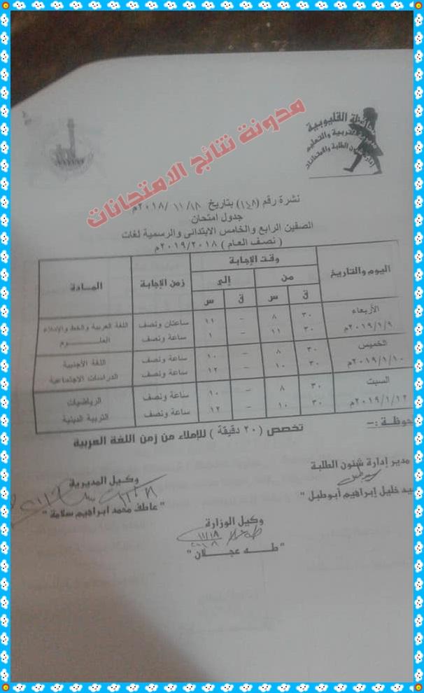 جدول امتحانات الترم الاول 2019 محافظة القليوبية المرحلة الابتدائية والاعدادية والثانوية 611