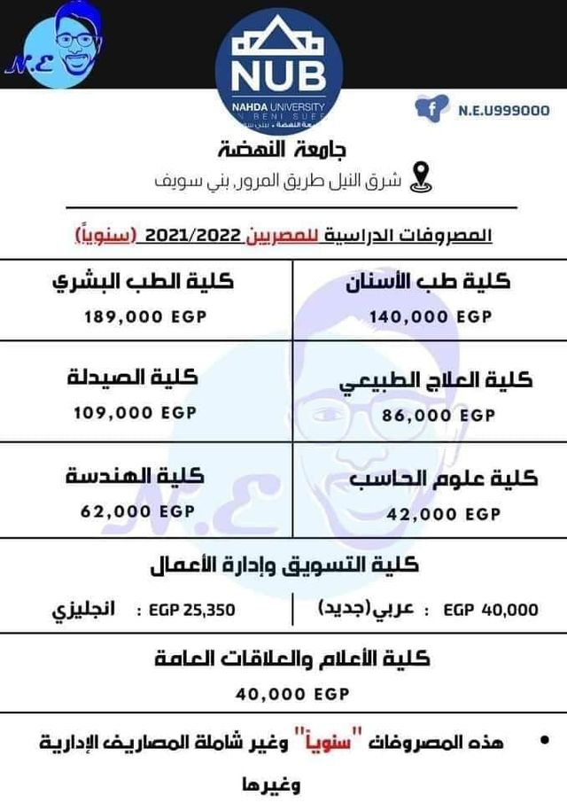 مصروفات جامعة النهضة الخاصة فى مصر 2021 6610