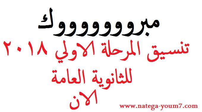 نتيجة تنسيق المرحلة الاولي علمي وادبي 2018 بوابة الحكومة المصرية Aoia_o10