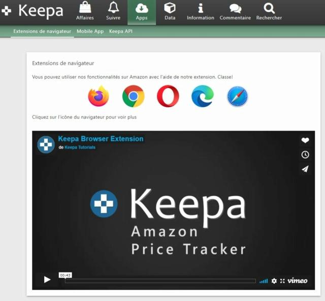 Achat Amazon: surveillance des prix Keepa.com Captur15