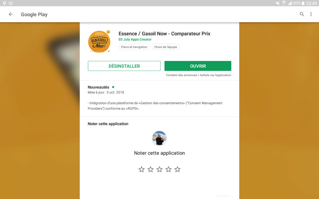 Application  tarifs carburants  Screen71