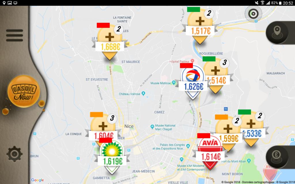 Application  tarifs carburants  Screen72