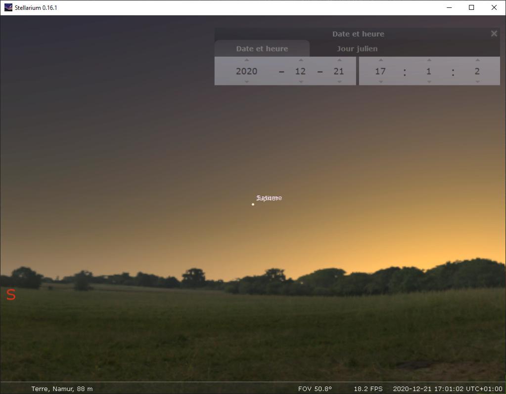 conjonction de Jupiter et Saturne (décembre 2020) 17h10