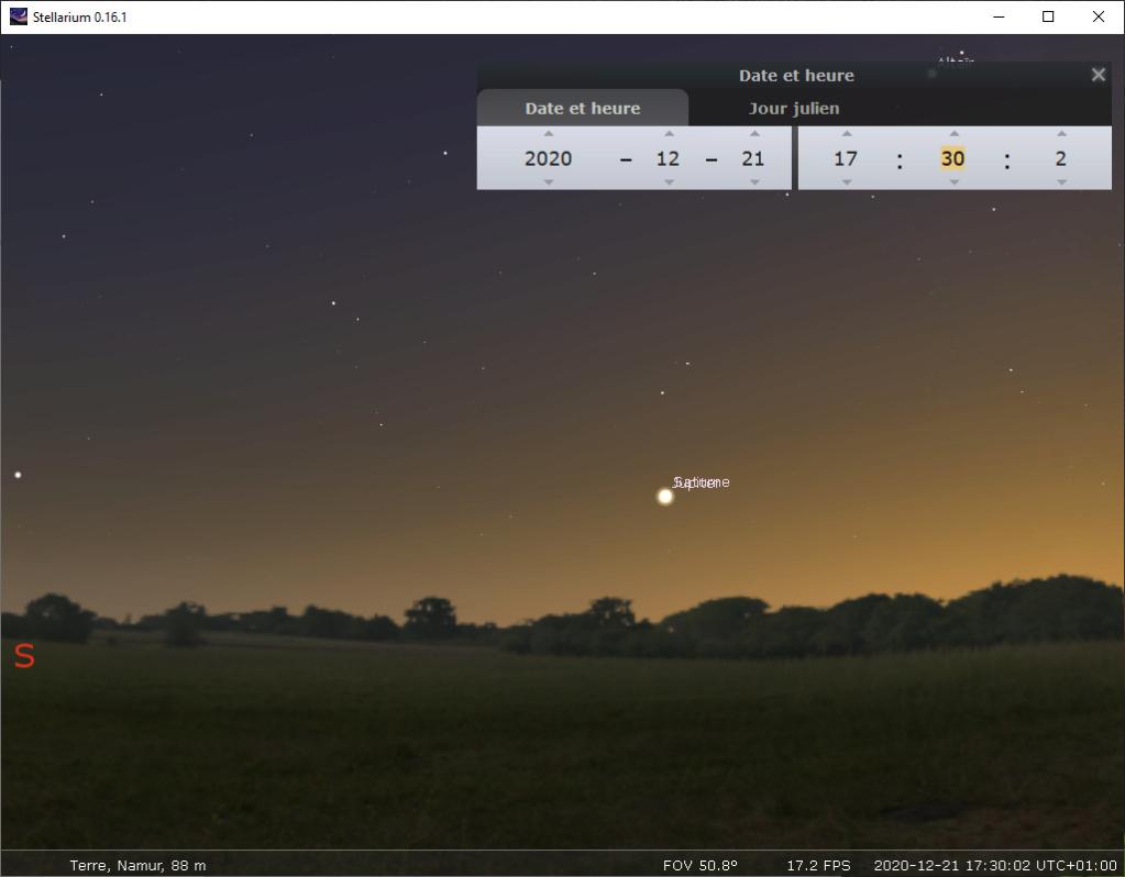 conjonction de Jupiter et Saturne (décembre 2020) 17h3010