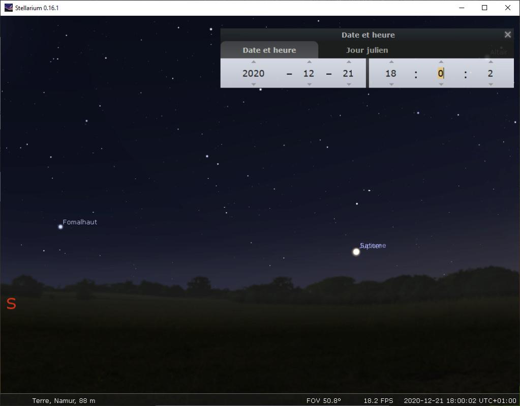 conjonction de Jupiter et Saturne (décembre 2020) 18h10