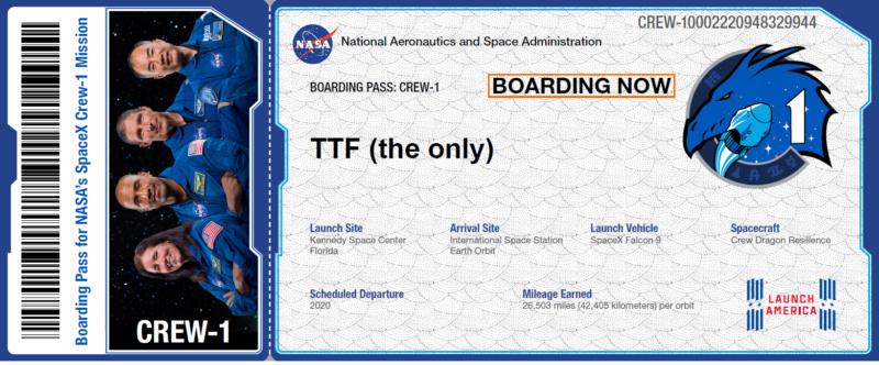 Boarding pass Crew dragon :) Boardi10